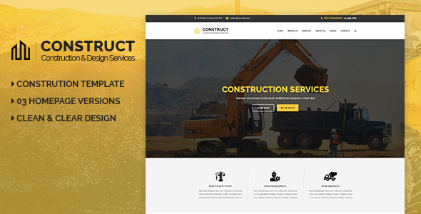 Construct - Construction & Building Business PSD Template - Business Corporate
