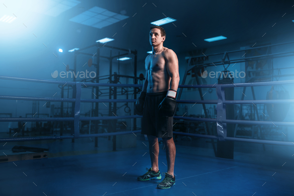 Muscular boxer in black gloves on the ring - Stock Photo - Images