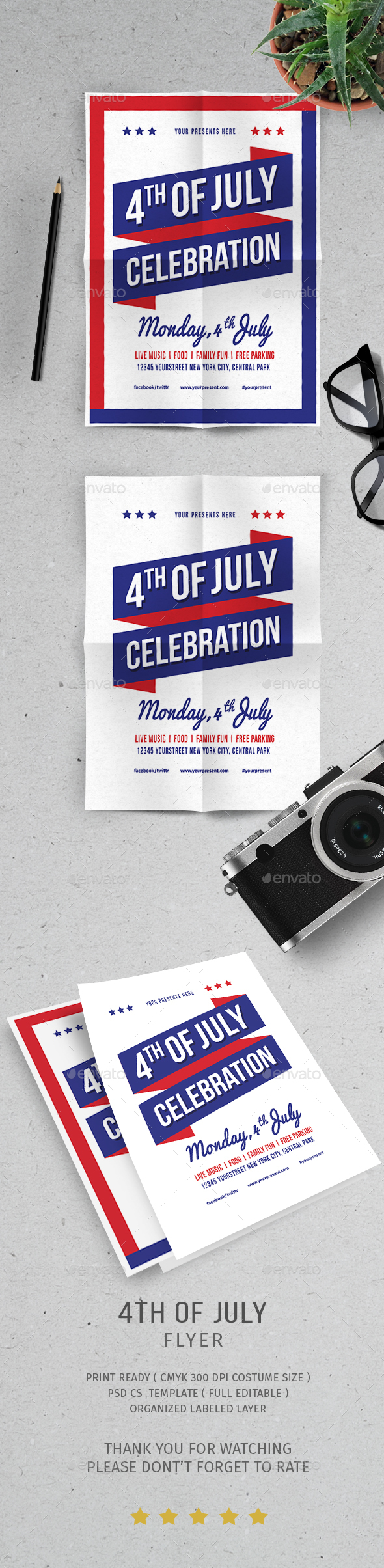 4 Of July Independence Day - Flyers Print Templates