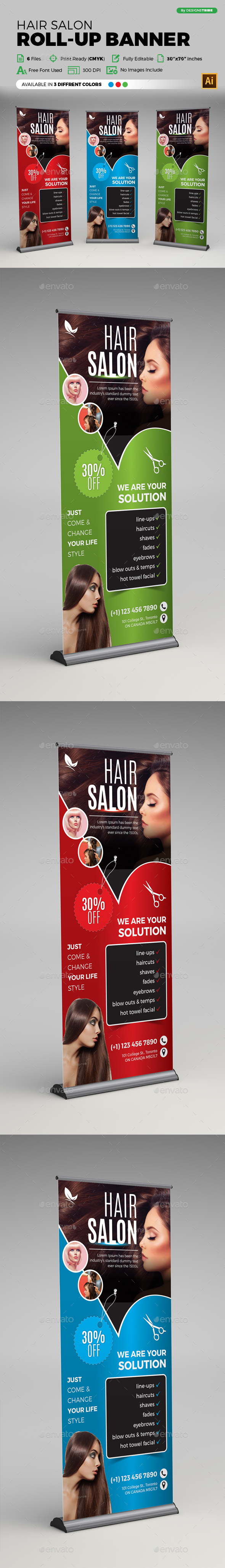 Hair Salon Roll-up Banner - Signage Print Templates