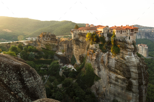 Beautiful morning view on the Holy Monastery of Varlaam on the edge of high rock. Kastraki, Greece - Stock Photo - Images