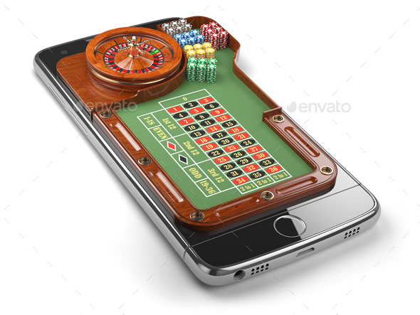 Mobile phone with roulette and casino chips  isolated on white b - Stock Photo - Images