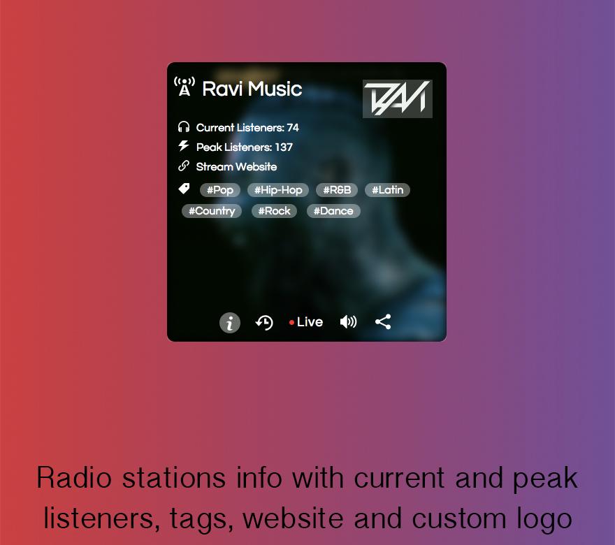 SHOUTcast and Icecast Radio Web Player