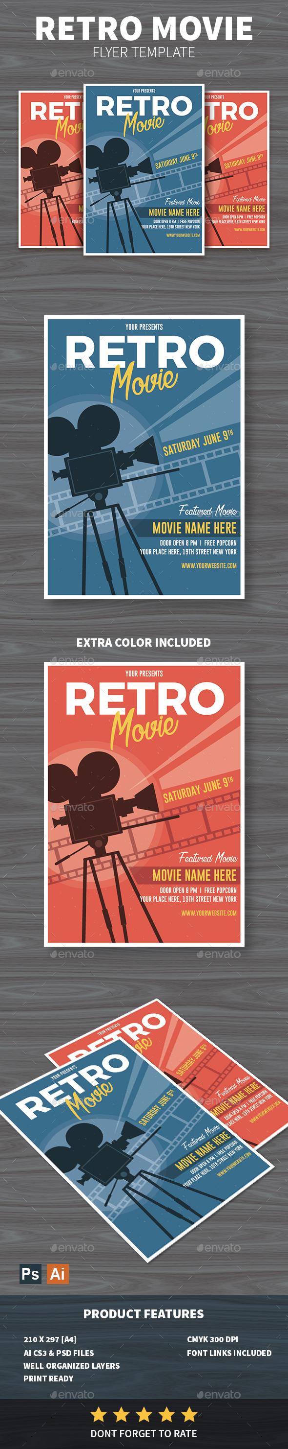 Retro Movie Flyer - Events Flyers