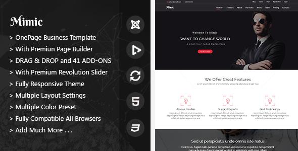Mimic - OnePage Joomla Business Template - Business Corporate