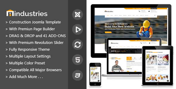 Industries - Industrial & Construction Joomla Business Template - Business Corporate