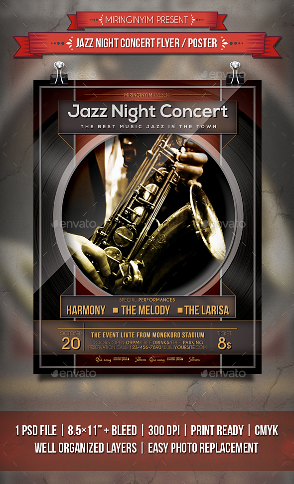 Jazz Night Concert Flyer / Poster - Events Flyers
