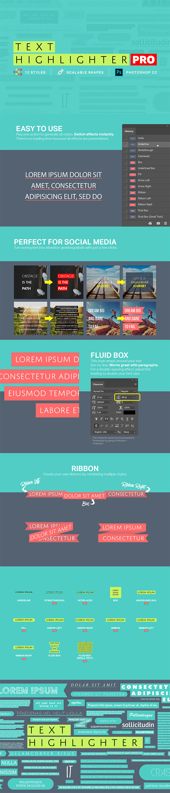 Text Highlighter Photoshop Actions - Text Effects Actions