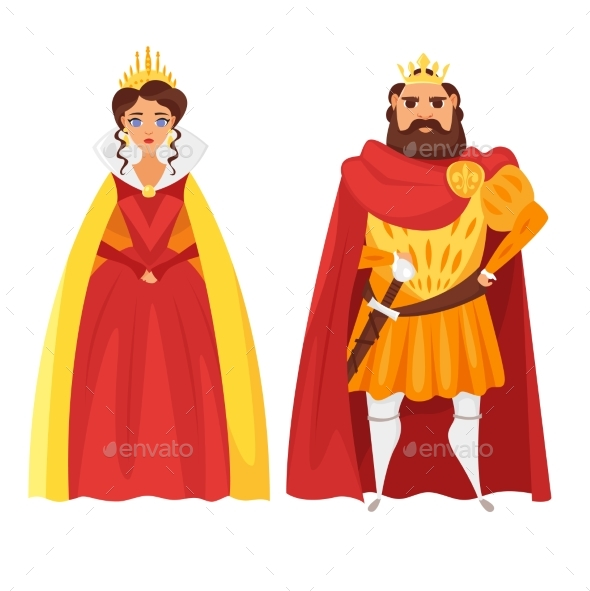 Cartoon Style Illustration of King and Queen - People Characters