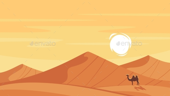 Vector Cartoon Style Background with Hot Desert - Animals Characters
