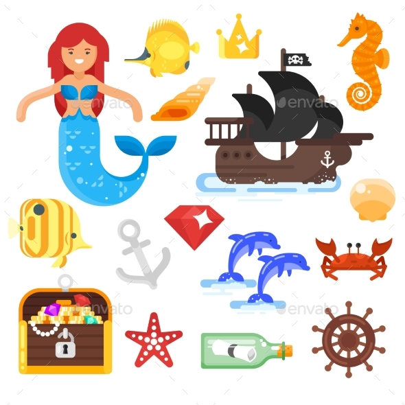 Vector Flat Style Set of Sea Life Icons - Animals Characters