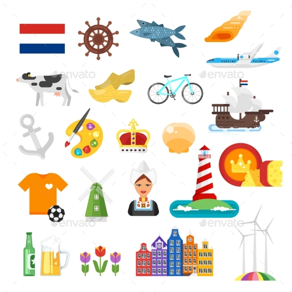 Netherlands National Flat Style Set - Miscellaneous Vectors