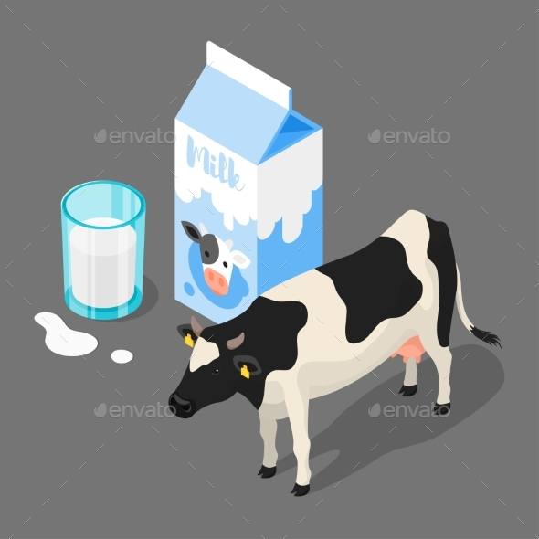 Vector 3d Isometric Illustration of Milk Packing