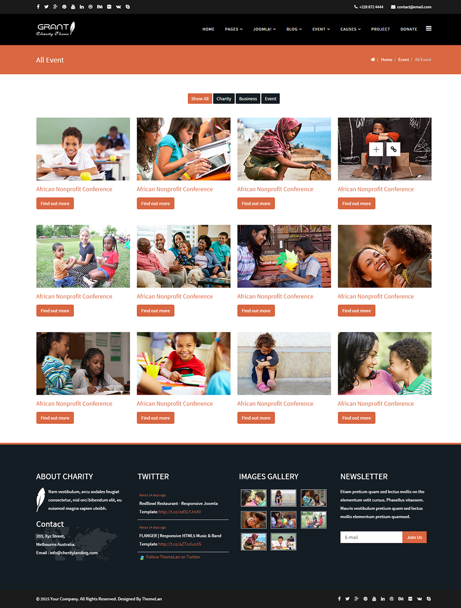 joomla templates with sample data - grant charity nonprofit ngo joomla template by