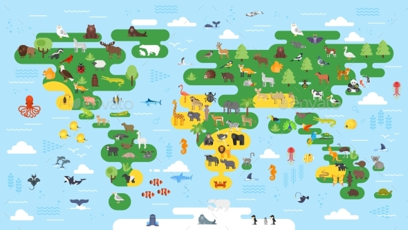 Flat Style Abstract World Map - Animals Characters