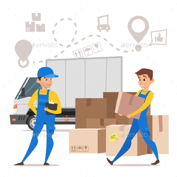 Loaders Movers Man Carrying Cardboard Boxes - Miscellaneous Vectors