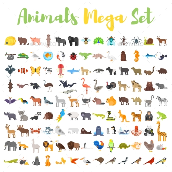 Flat Style Set of Animals - Animals Characters