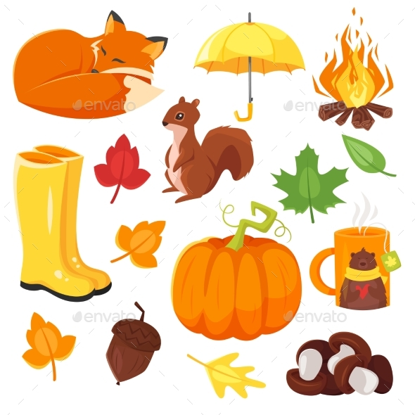 Cartoon Style Set of Autumn Symbols - Seasons Nature