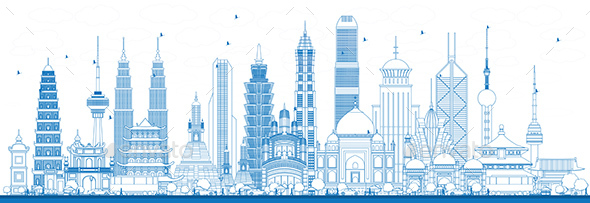 Outline Famous Landmarks in Asia. Vector Illustration. - Buildings Objects