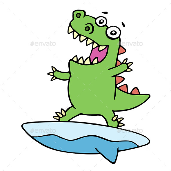 Dragon Surfer on Surfboard - Sports/Activity Conceptual