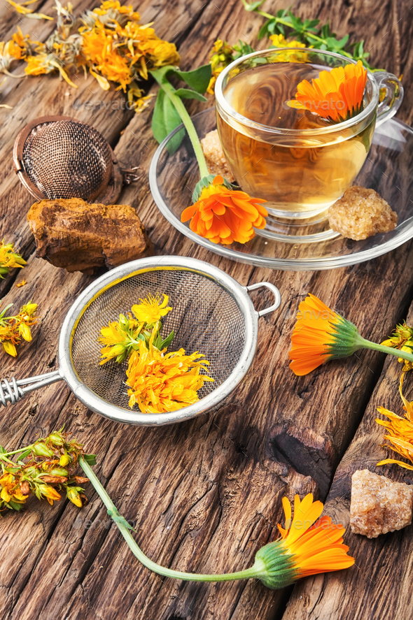 Herbal tea with calendula flowers - Stock Photo - Images