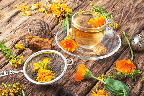 Herbal tea with calendula flowers - Stock Photo - Images