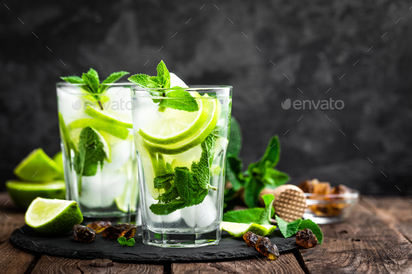 Refreshing mint cocktail mojito with rum and lime, cold drink or beverage with ice - Stock Photo - Images