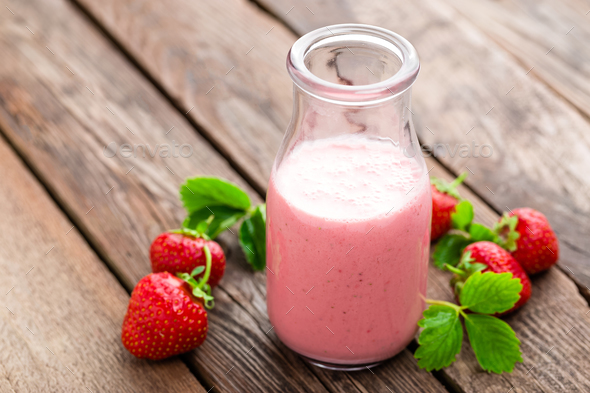 Strawberry yogurt with fresh berries, delicious drink, cocktail - Stock Photo - Images