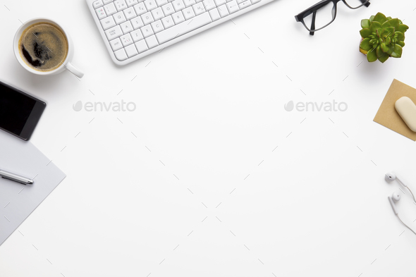Keyboard With Office Supplies On White Desk - Stock Photo - Images