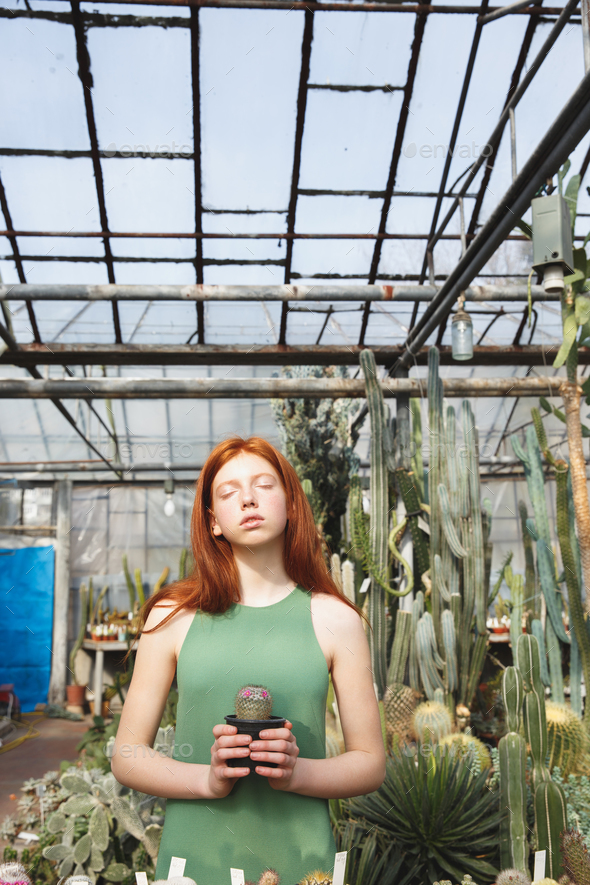 Portrait of a young redheaded woman - Stock Photo - Images