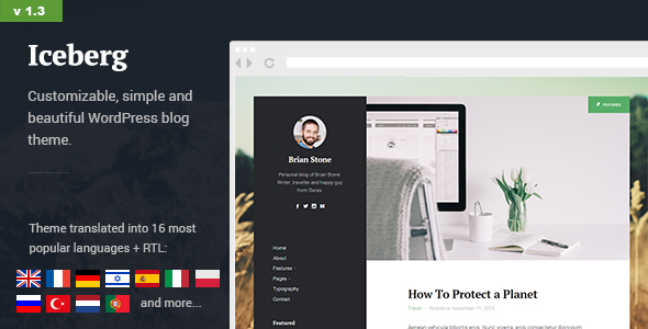 Iceberg - Simple & Minimal Personal Content-focused Wordpress Blog Theme (RTL support) - Personal Blog / Magazine