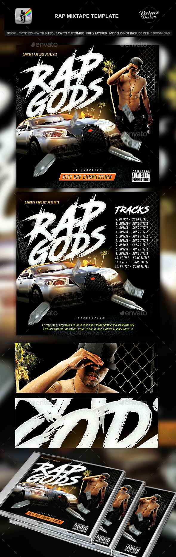 Rap Mixtape Template - CD & DVD Artwork Print Templates