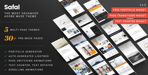 Safal: 5 Responsive Creative Multipurpose Muse Themes – Advanced Widgets