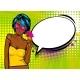 Cool Woman Pop Art Comic Text Speech Baloon