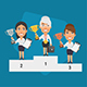 Winner Podium Business Woman Hold Cup - GraphicRiver Item for Sale