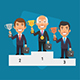 Winner Podium Businessman Hold Cup - GraphicRiver Item for Sale