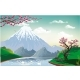 Landscape - Sakura on the River Bank - GraphicRiver Item for Sale