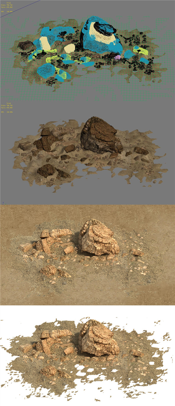 Barracks - Desert Stones - Crushed Stone 03 - 3DOcean Item for Sale
