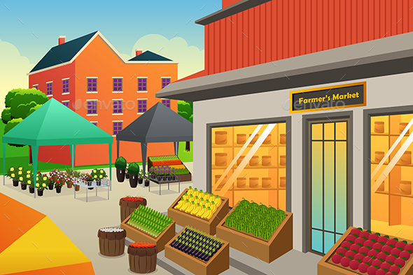 Farmers Market Background Illustration - Food Objects