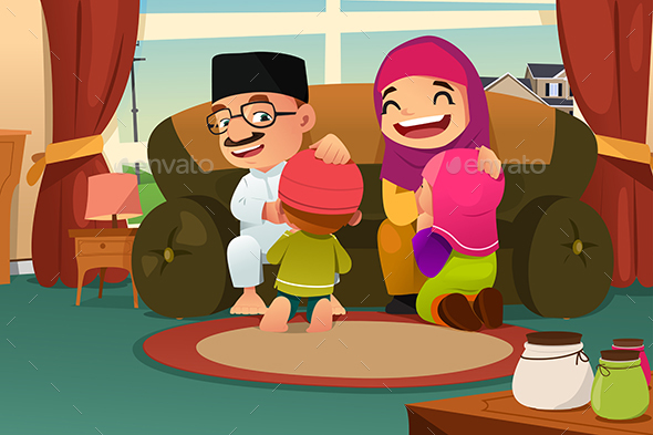 Muslim Family Celebrating Eid Al Fitr - People Characters