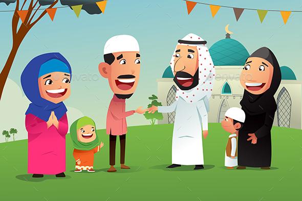 Muslims Celebrating Eid Al Fitr - People Characters