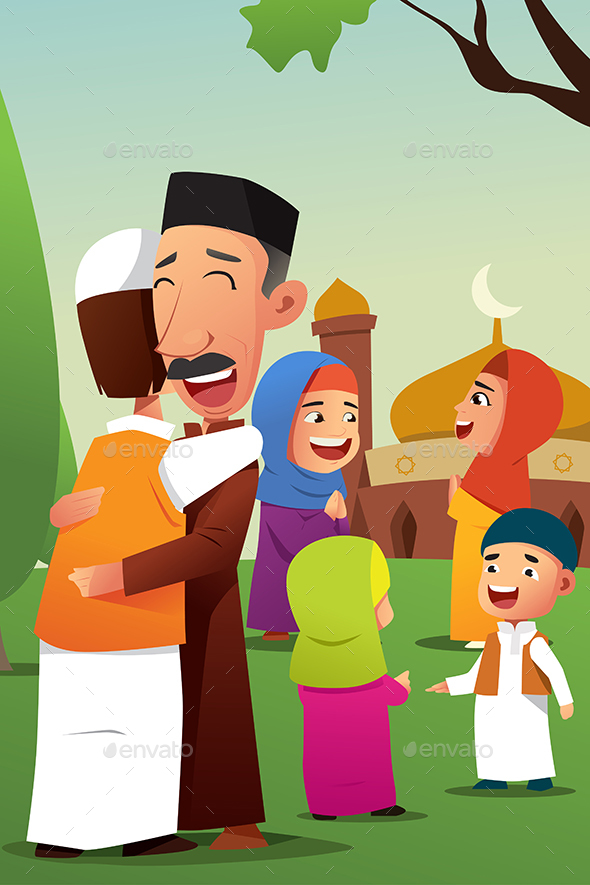 Muslims Celebrating Eid Al Fitr - People Characters