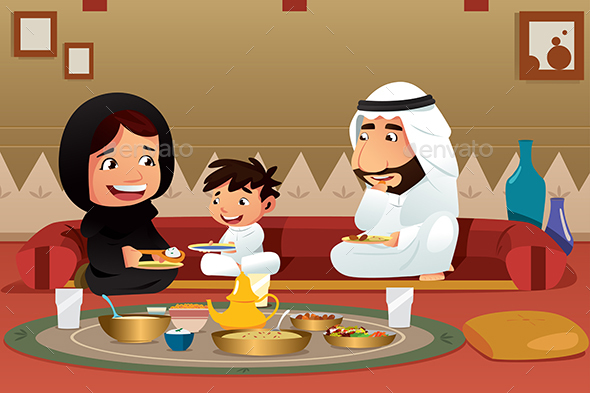 Muslim Family Eating at Home - People Characters
