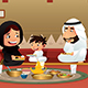Muslim Family Eating at Home - GraphicRiver Item for Sale