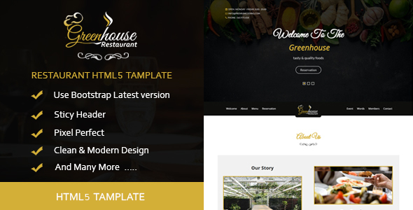 Greenhouse-Restaurant HTML5 Template - Site Templates