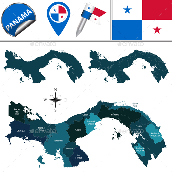 Map of Panama with Named Provinces and Comarcas - Travel Conceptual