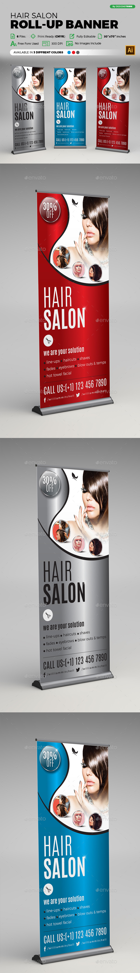 Hair Salon Roll-up Banner - Signage Print Templates