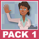 Black Female Doctor And Black Male Patient Cartoon Characters Pack 1 - VideoHive Item for Sale