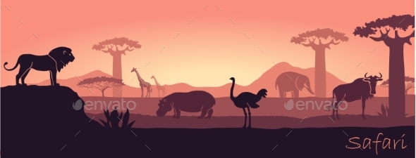 African Landscape with Wild Animals - Animals Characters
