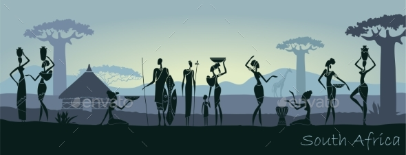 African Men and Women Against the Landscape - People Characters